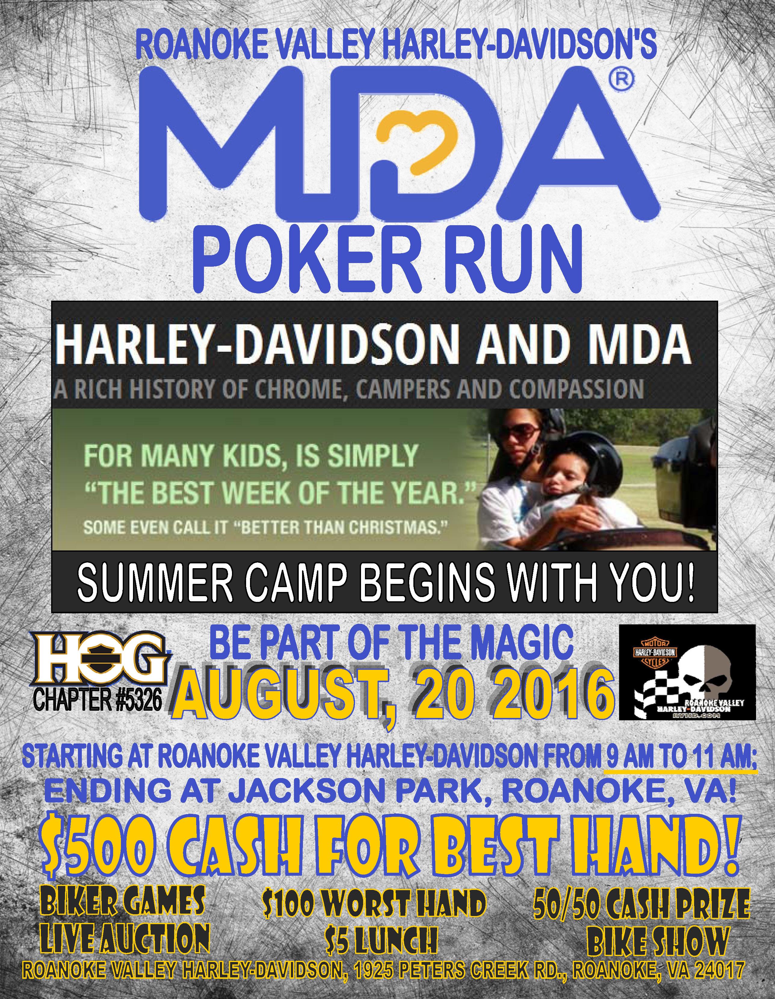 roanoke valley harley-davidson mda poker run - motorcycle event in
